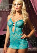 Sweetie Pie Chemise And Thong-blue O/s