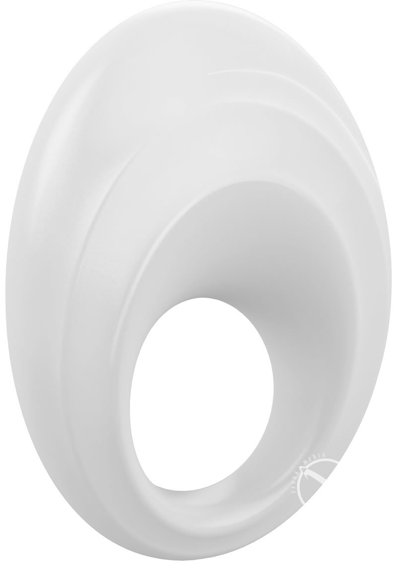 Ovo B5 Silicone Cock Ring Waterproof White And Chrome